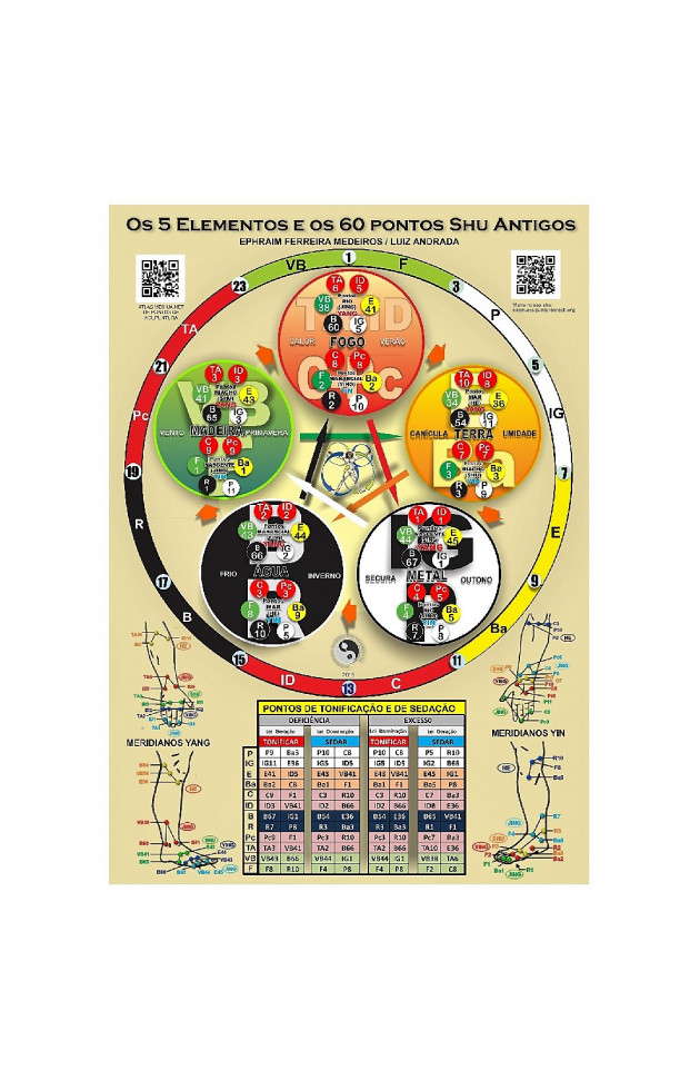 Mapa Os 5 Elementos e os 60 Pontos Shu Antigos A4